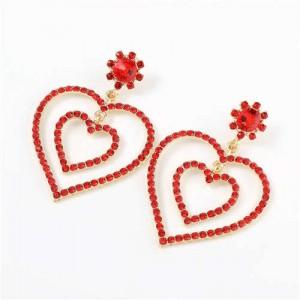 Dual Hearts Acrylic Gems Embellished Korean Fashion Women Earrings - Red