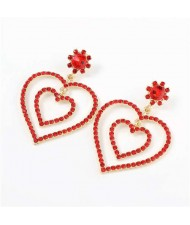Dual Hearts Acrylic Gems Embellished Korean Fashion Women Earrings - Red