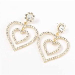 Dual Hearts Acrylic Gems Embellished Korean Fashion Women Earrings - White