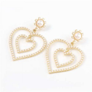 Dual Hearts Acrylic Gems Embellished Korean Fashion Women Earrings - Pearl
