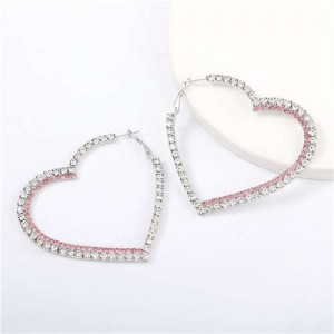 Shing Rhinestone Heart Shape Party Fashion Women Earrings - Silver