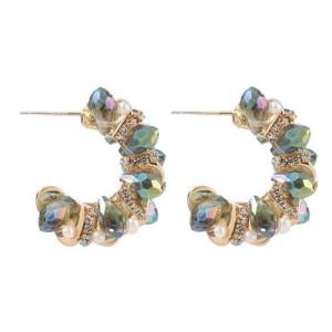 Pearl and Rhinestone Semicircle Design U.S. High Fashion Women Alloy Earrings
