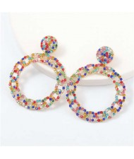 Rhinestone Inlaid Chain-like Round Design Women Costume Earrings - Multicolor