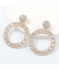 Rhinestone Inlaid Chain-like Round Design Women Costume Earrings - Golden