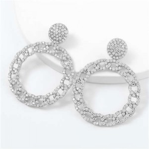 Rhinestone Inlaid Chain-like Round Design Women Costume Earrings - Silver