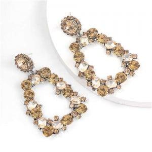 U.S. High Fashion Rhinestone Trapezoid Shape Women Alloy Costume Earrings - Champagne