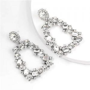 U.S. High Fashion Rhinestone Trapezoid Shape Women Alloy Costume Earrings - White