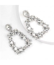 U.S. High Fashion Rhinestone Trapezoid Shape Women Alloy Costume Earrings - White