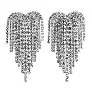 Super Shining Heart Shape Tassel Fashion Women Alloy Earrings - Silver