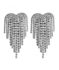 Super Shining Heart Shape Tassel Fashion Women Alloy Earrings - Silver