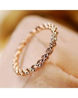 Twist Design 18K Rose Gold Finger Ring