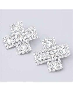 U.S. High Fashion Cross Design Bold Fashion Women Statement Earrings - White
