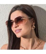 5 Colors Available Frameless Design Seashore Fashion Women Sunglasses