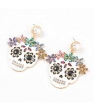 Oil-spot Glazed Skull Design Punk Fashion Women Alloy Costume Earrings - White