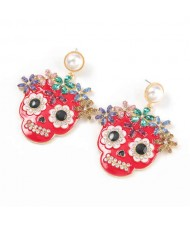 Oil-spot Glazed Skull Design Punk Fashion Women Alloy Costume Earrings - Red