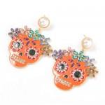 Oil-spot Glazed Skull Design Punk Fashion Women Alloy Costume Earrings - Orange