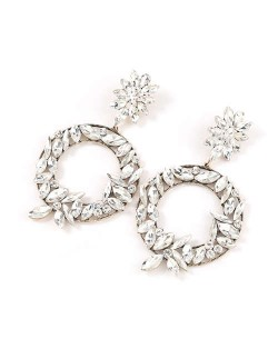 Spring Floral Fashion Women Graceful Rhinestone Hoop Alloy Earrings - White
