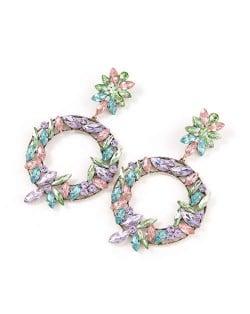Spring Floral Fashion Women Graceful Rhinestone Hoop Alloy Earrings - Multicolor