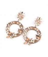 Spring Floral Fashion Women Graceful Rhinestone Hoop Alloy Earrings - Champagne