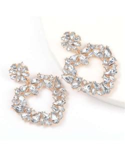 Floral Pattern Heart Shape Acrylic Gems High Fashion Women Alloy Earrings - White
