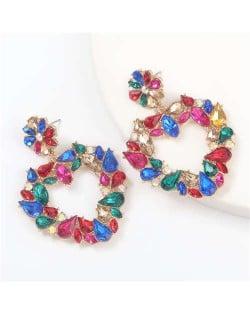 Floral Pattern Heart Shape Acrylic Gems High Fashion Women Alloy Earrings - Multicolor