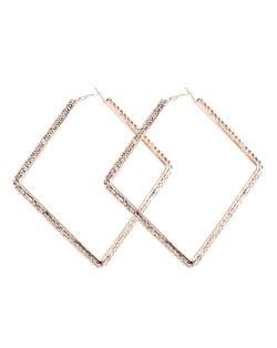Rhinestone Inlaid Large Rhombus Shape Bold Fashion Women Statement Earrings - Golden