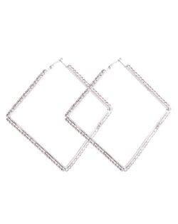 Rhinestone Inlaid Large Rhombus Shape Bold Fashion Women Statement Earrings - Silver
