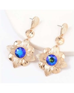 Gem Inlaid Golden Flower Design Spring Fashion Women Alloy Earrings - Blue