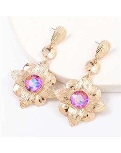 Gem Inlaid Golden Flower Design Spring Fashion Women Alloy Earrings - Pink