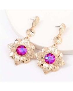 Gem Inlaid Golden Flower Design Spring Fashion Women Alloy Earrings - Rose