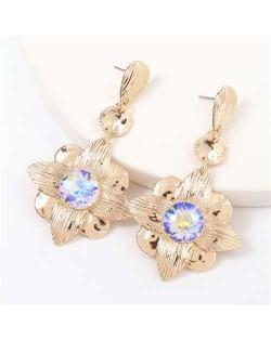 Gem Inlaid Golden Flower Design Spring Fashion Women Alloy Earrings - Luminous White