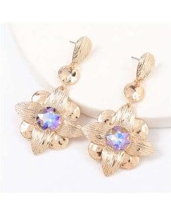 Gem Inlaid Golden Flower Design Spring Fashion Women Alloy Earrings - Violet