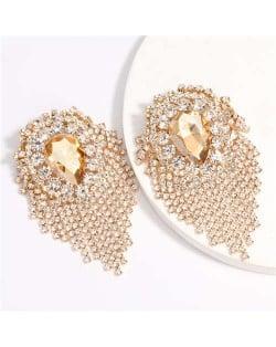 Super Shining Rhinestone and Glass Drill Waterdrop Inspired Banquet Fashion Women Earrings - Golden