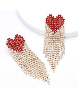 Romantic Heart Design Shining Tassel Fashion Women Party Costume Earrings - Red