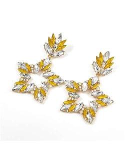 Super Shining Rhinestone Star Design Party Fashion Women Alloy Earrings - Yellow