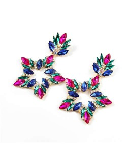 Super Shining Rhinestone Star Design Party Fashion Women Alloy Earrings - Multicolor