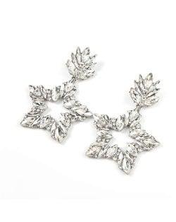 Super Shining Rhinestone Star Design Party Fashion Women Alloy Earrings - Silver