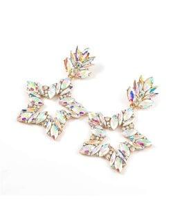 Super Shining Rhinestone Star Design Party Fashion Women Alloy Earrings - Luminous White
