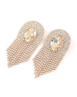 Glass Drill Gem Inlaid Glistening Design Women Tassel Earrings - Golden