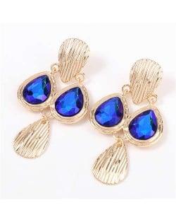 Acrylic Gem Inlaid Vintage Waterdrops Design Celebrity Choice High Fashion Women Alloy Earrings - Blue