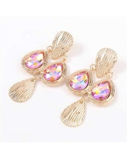 Acrylic Gem Inlaid Vintage Waterdrops Design Celebrity Choice High Fashion Women Alloy Earrings - Pink