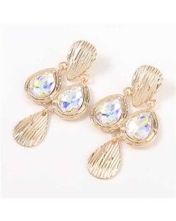 Acrylic Gem Inlaid Vintage Waterdrops Design Celebrity Choice High Fashion Women Alloy Earrings - Luminous White