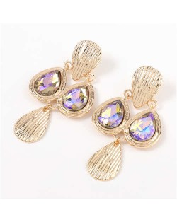 Acrylic Gem Inlaid Vintage Waterdrops Design Celebrity Choice High Fashion Women Alloy Earrings - Violet