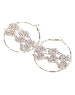 U.S. Dollar Fashion Big Hoop Women Party Costume Earrings - Golden
