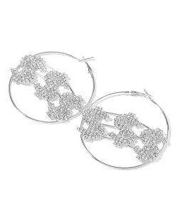 U.S. Dollar Fashion Big Hoop Women Party Costume Earrings - Silver