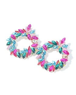 Gorgeous Floral Hoop Design Super Shining Women Party Costume Earrings - Multicolor