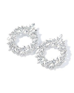 Gorgeous Floral Hoop Design Super Shining Women Party Costume Earrings - Silver
