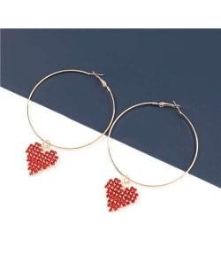 Rhinestone Heart Pendants Big Hoop Women Alloy Fashion Earrings - Red