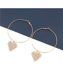 Rhinestone Heart Pendants Big Hoop Women Alloy Fashion Earrings - Golden