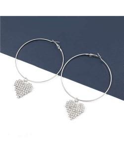 Rhinestone Heart Pendants Big Hoop Women Alloy Fashion Earrings - Silver